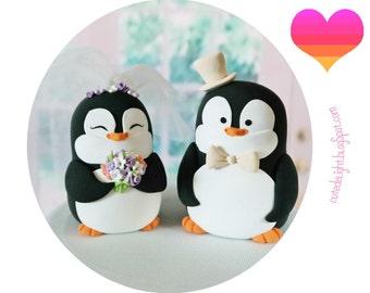 PENGUIN wedding Cake Topper, Penguins Cake Topper,Penguin bride and groom, cake topper,custom cake topper,wedding topper,polymer clay topper