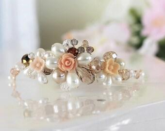Ivory Champagne Bridal Bracelet, Pearl Crystal Bracelet, Floral Wedding Bracelet, Champagne Ivory Adjustable Bracelet, Gift For Her