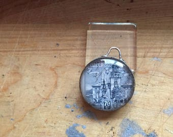 Double Sided Unique Handmade Postage Stamp Glass Pendant