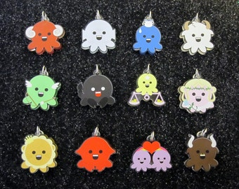 All 12 Western Zodiac Octopus Charms