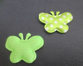 attractive Butterfly in green fabric with white dots 39 x 30 mm