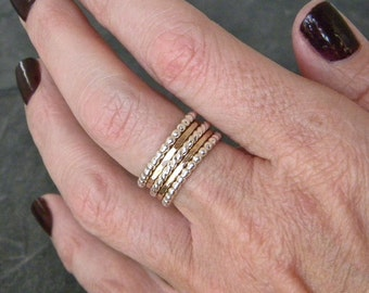 Silver and Gold Ring Set - Stacking Rings - Stacking Ring Set - Sterling Silver Ring - Mixed Metal Stacking Rings - Womens Gold Fill Rings
