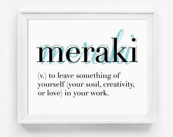 Meraki, Typography Print, Unusual Words, Office Art, Office Print, Inspirational Art, Happiness, Passion, Typographic Print, Dictionary Art