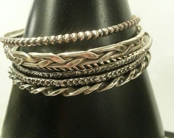 Set of 6 Vintage Sterling Silver Narrow Bangle Bracelets Each Different, with some oxidation