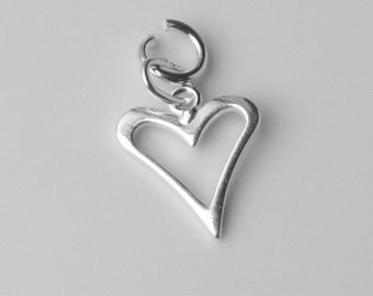 925 Sterling Silver Open Heart Outline Charm with Open Jump Ring 11mm x 12mm