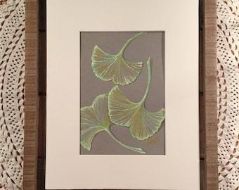 Original artwork, pen & ink ginkgo leaves illustration