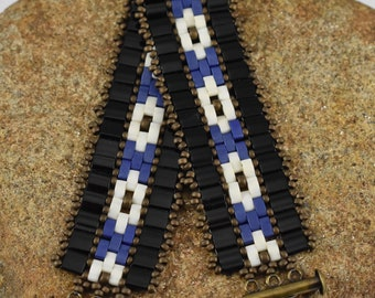 Cobalt and Black Mosaic Bracelet