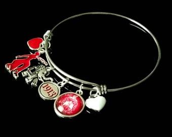 "Delta Sigma Theta, Red Fortitude, Glass Crest, Elephant, Heart Charm 8"" Expandable Bracelet"