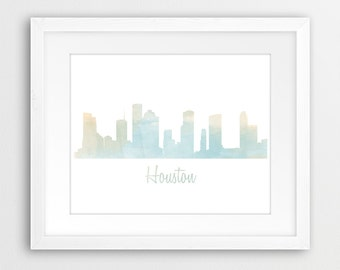 Houston Skyline Watercolor Art Print - Color & BW