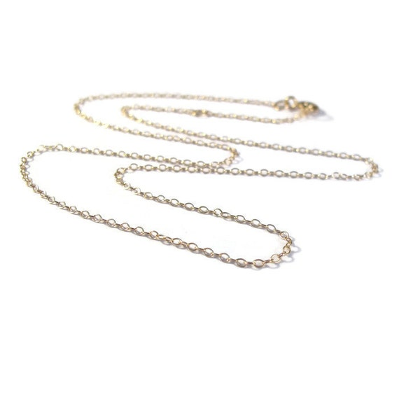 reserved for hannah - handmade Plain Gold Chain, Gold Cable Chain with Clasp, Gold Filled 16 Inch Finished Chain with One Inch Extender