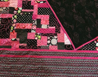 Hot Pink and Black Owl patchwork Twin Quilt