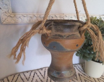 Vintage Southwestern Painted Pottery Urn Vase ~ Hanging Planter ~ Jungalow Exotic Native