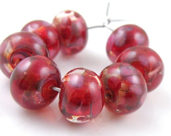 Red Currant Swirls SRA Lampwork Handmade Artisan Glass Donut/Round Beads READY to SHIP Set of 8 8x12mm