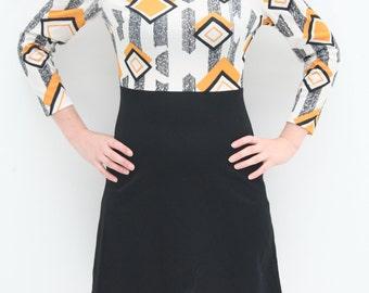 1960's Diamond Pattern, Mustard Yellow, Black and White Knee Length Dress