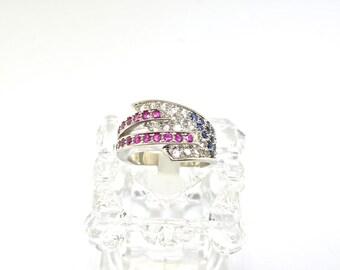 14k White Gold Multi-Color Ring. Size 6.75