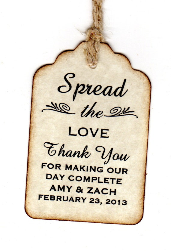 50 personalized spread the love wedding favor tags place card for Personalized wedding place cards