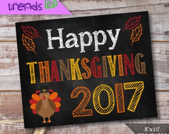 "Happy Thanksgiving Sign, Digital Thanksgiving Chalkboard sign, Printable Photo Prop, 8""x 10"" Holiday Poster, INSTANT DOWNLOAD"