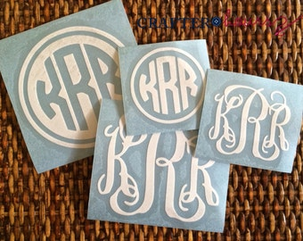 Monogram Decal, Set of 4 - Perfect for water bottles, laptops, phones, planners and more!