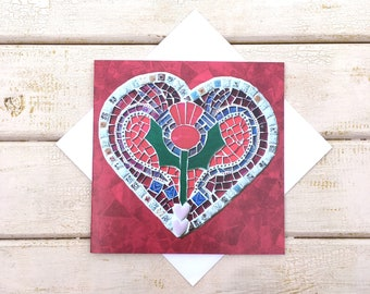 Scottish Thistle Greeting Card ~ Red Heart Card ~ Mosaic Art Card Blank Inside ~ Wedding Card ~ Anniversary Card ~ Romantic Card ~ Thistle