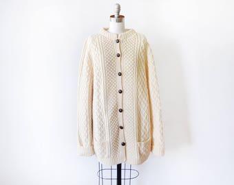 vintage cable knit cardigan, wool fisherman's sweater, 70s cream chunky slouchy Irish style cardigan, medium large extra large