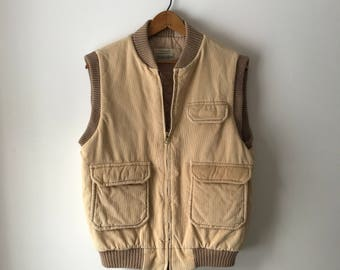 Classic vintage tan St. John's Bay corduroy vest with quilted lining