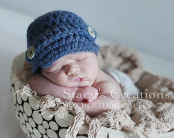 Infant Hat, Newborn Boy Hat, Infant Newsboy Hat, Infant Winter Hat, Newborn Hat, Baby Shower Gift, Baby Winter Hat, Boy Newsboy cap, Blue
