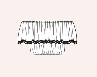 Bardot Top - Off Shoulder Crop Top with Pom Pom Trim