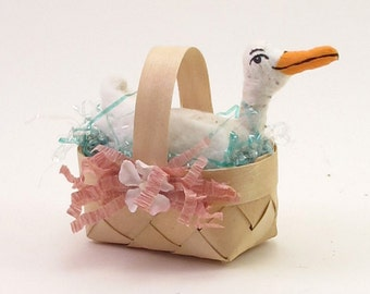 READY TO SHIP Vintage Inspired Spun Cotton Duck Basket Figure Ooak