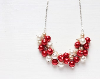Christmas Winter Wedding Bridesmaid Jewelry Pearl Cluster Necklace, Red and White - Candy Cane