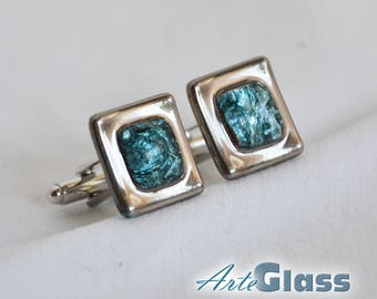 Cufflinks handmade bubble painted turquoise decorated with platinum, square