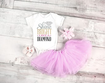 Shine bright like a diamond baby onesie, available in sizes newborn, 6 months, 12 months, 18 months graphic baby onesie