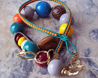 Handmade Beaded Lampwork Necklace. Leather Cord and Glass Necklace. Summer Necklace. Long Necklace. Statement Necklace. Colorful Necklace.
