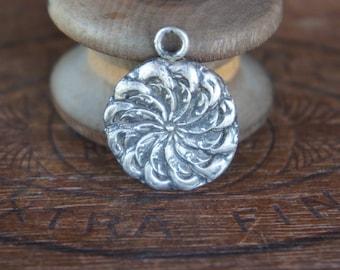 Handmade Fine Silver Ornate 19th Century Button Design Pendant