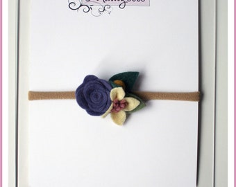 Felted - VINTAGE floral - stretch headband - baby, child, adult - flowers