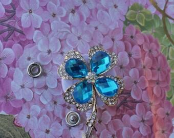 Opal Rhinestone Shamrock Retractable ID Name Badge Holder