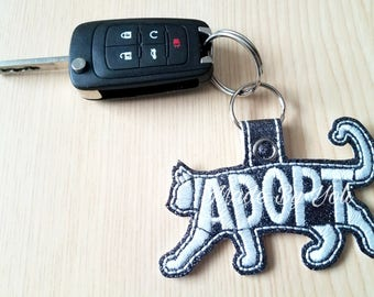 Embroidery Design Digitized Adopt Cat Keychain 4 x 4