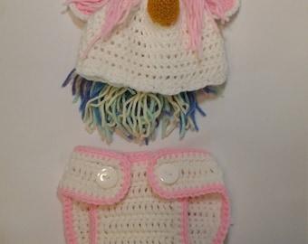Unicorn Diaper and Hat Set