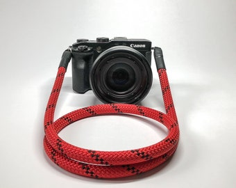 Camera Strap for DSLR red/black-Camerastrap-rope-camera strap-10 mm-Universal shoulder strap-carrying strap-Sony Olympus-Seilstyles