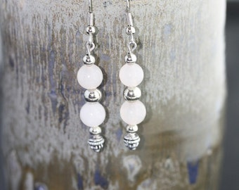 Rose Quartz Earrings - Item 1187
