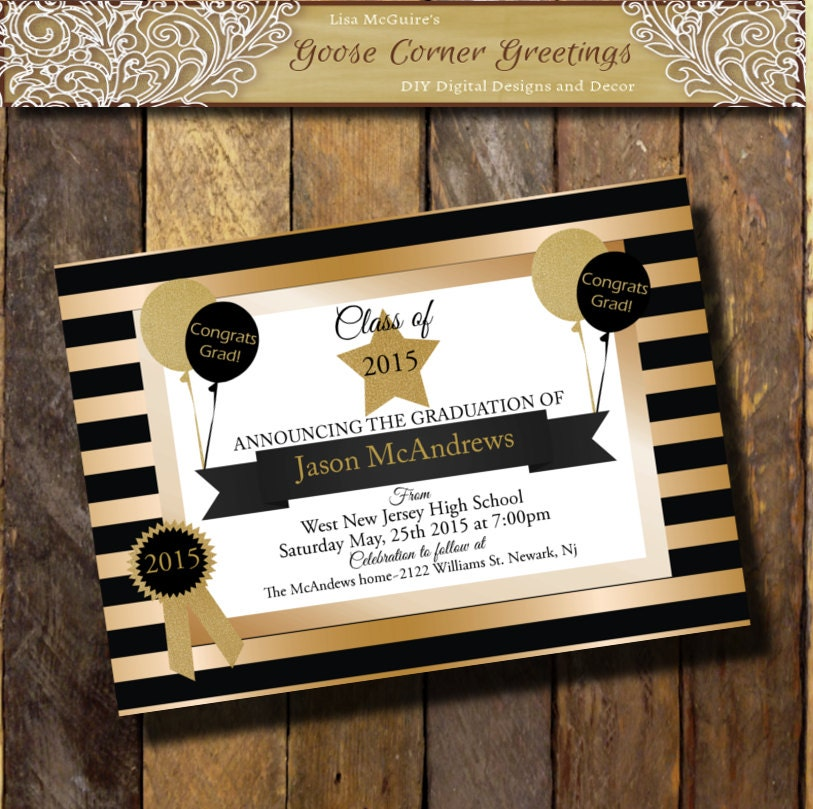 GOLD BLACK Graduation Invitation Glitter Announcement any