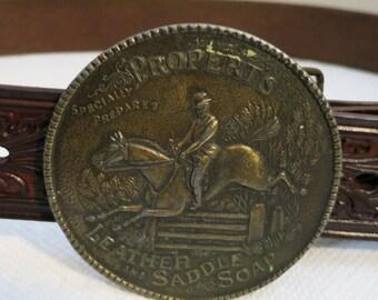 Vintage Belt Buckle Horse Jumping Propert's Saddle Soap
