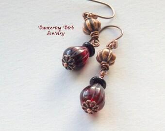 Plum Purple Glass Bead Drop Earrings, Boho Teardrop Dangle Earrings, Boho Jewelry