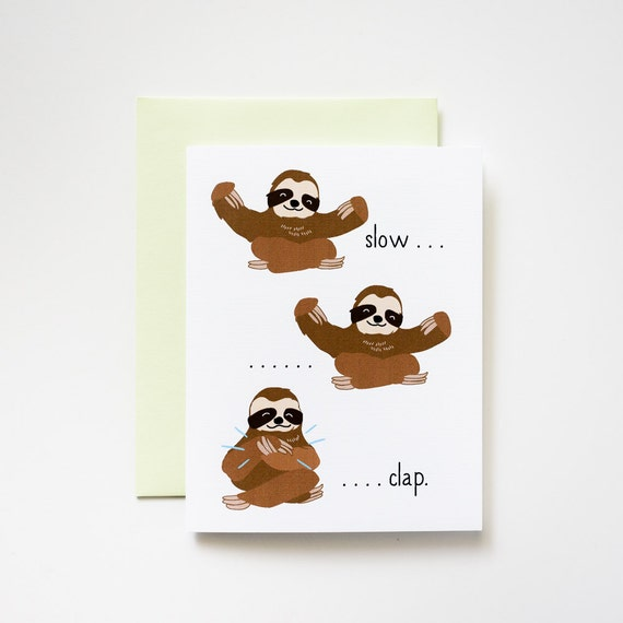Slow Clap Sloths Congratulations Card