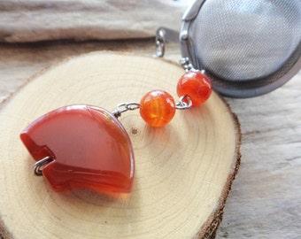 Bear Tea Strainer- Gemstone Zuni Bear Gemstone Tea Ball- Tea Charm Dangle-  Mesh Tea Infuser Carnelian Orange