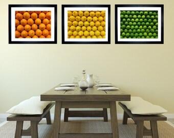 Set of 3 Citrus Fruit Art Print Kitchen Decor, Bar Decor, Food Photography, Orange  Lemon Lime Art Print