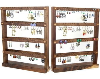 Jewelry Holder Stand - Earring Display, Black Walnut, Wood, ds. Holds 144 pairs. Jewelry Organizer - Earring Holder