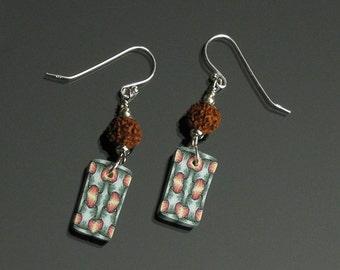 Wearable Art Colorful Earrings, Rudraksha Bead Jewelry, Unique Art Jewelry Shop, Unique Gift for Women, Buddhist Jewelry Silver Earrings
