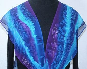 Blue, Purple Silk Scarf Hand Painted Chiffon Silk Shawl BEACH MAGIC by Silk Scarves Colorado. Select Your SIZE! Anniversary, Bridesmaid Gift
