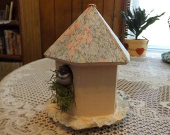 Decorative Bird House / Peach Paint - Peach Floral Print Fabric Roof / Bird & Nesting Material