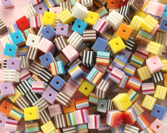 100 Pcs 8mm Assorted Striped Cube Beads